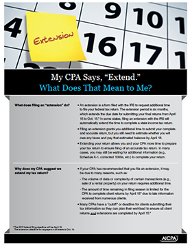 "Tax-Extension-Cover My CPA Says, ""Extend."" What Does That Mean to Me?"
