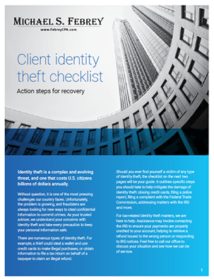 Febrey-ID-Theft-Checklist-cover Identity Theft Checklist - Action Steps for Recovery